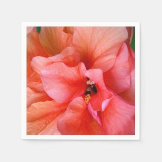 Beautiful Tropical Flower Coral Pink Orange Party Napkin