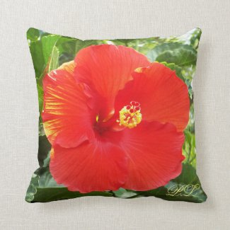 Beautiful tropical flower monogram pillow