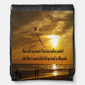 Beautiful Tropical sunset Drawstring Backpack