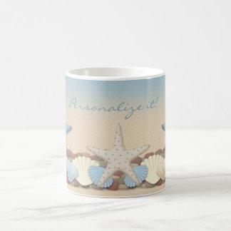 Beautiful Tropical Theme Beach Shells Classic White Coffee Mug