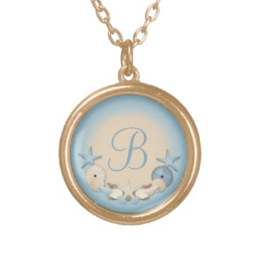 Beach Themed Beautiful Tropical Theme Beach Shells Monogram Gold Plated Necklace