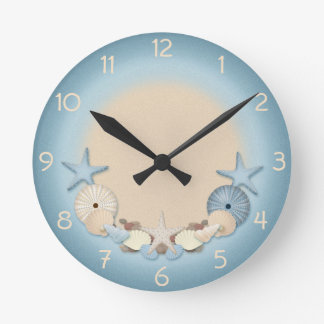 Beautiful Tropical Theme Beach Shells Round Clock