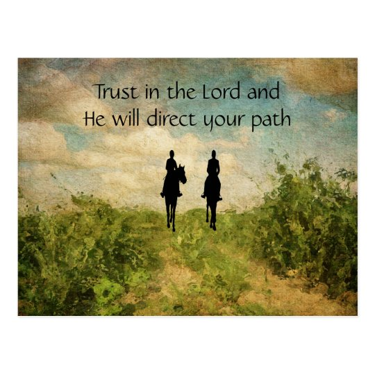 Beautiful Trust in the Lord Horse Riding Postcard