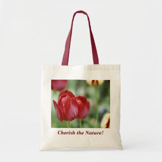 Beautiful Tulip and Waterdrops Canvas Bag