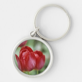Beautiful Tulip and Waterdrops Keychain