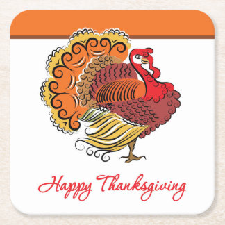 Beautiful Turkey Thanksgiving Disposable Coaster Square Paper Coaster