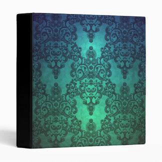 Beautiful Turquoise Blue Green Damask Binder