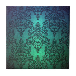 Beautiful Turquoise Blue Green Damask Tile