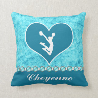 Beautiful Turquoise Cheer / Pom Personalized Throw Pillows