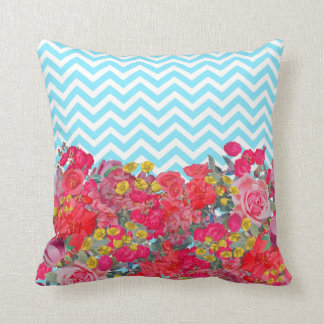 Beautiful Turquoise Chevron and Floral Pillow