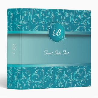 Beautiful Turquoise Damask | DIY Text 3 Ring Binder