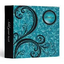 Beautiful Turquoise Damask | Personalize Binder