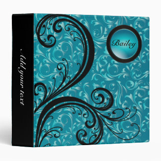 Beautiful Turquoise Damask | Personalize Binder