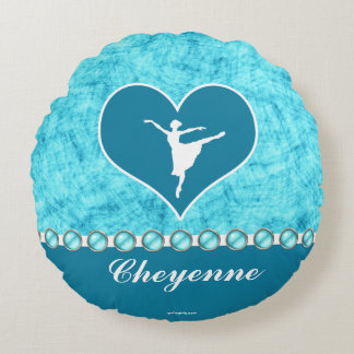 Beautiful Turquoise Dancer with Monogram Round Pillow