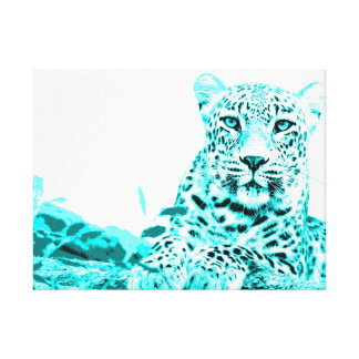 Beautiful Turquoise Leopard on White Background Canvas Print
