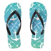 dba2f622680782 Beautiful Turquoise Nautical Flip Flops
