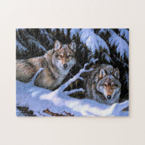 Beautiful Two Wolves Paintings Jigsaw Puzzle