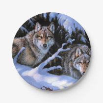 Beautiful Two Wolves Paintings Paper Plate