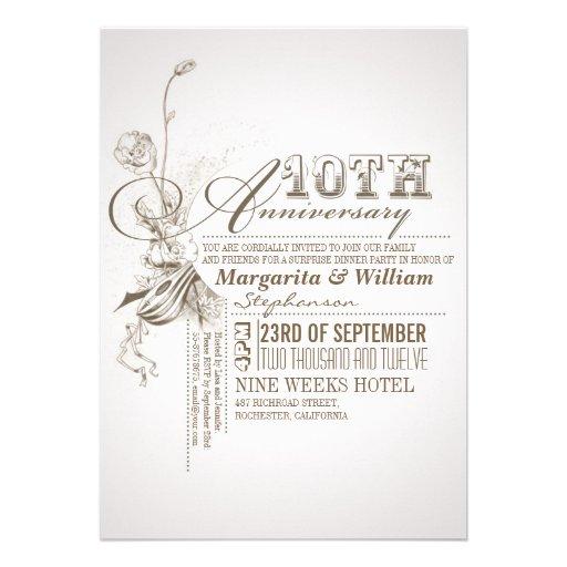 "Beautiful Typography 10th Anniversary Invitations 5"" X 7"