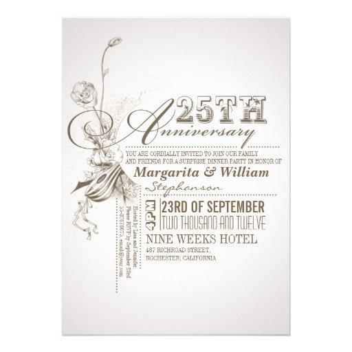 Beautiful Typography 25th Anniversary Invitations 5 X 7 Invitation Card