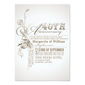 beautiful typography 40th anniversary invitations