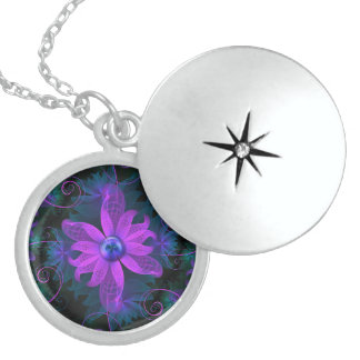 Beautiful Ultraviolet Lilac Orchid Fractal Flowers Sterling Silver Necklace