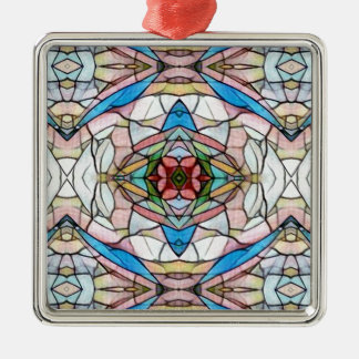 Beautiful Uncommon Artistic Stained Glass Pattern Metal Ornament
