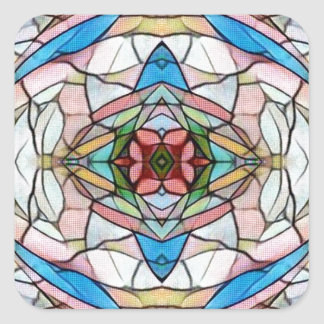 Beautiful Uncommon Artistic Stained Glass Pattern Square Sticker