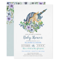 Beautiful Unicorn Blue Floral Boys Baby Shower Card