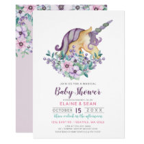 Beautiful Unicorn Purple Floral Girls Baby Shower Card