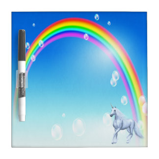 Beautiful Unicorn & Rainbow Dry Erase Board