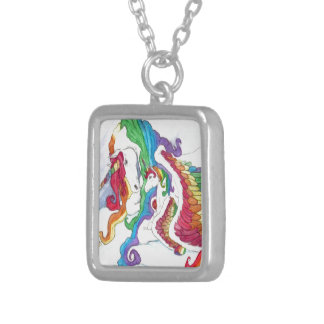 Beautiful Unicorn & Rainbows Mother & Baby Pegasus Silver Plated Necklace