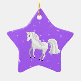Beautiful Unicorn with Purple Starry Sky Ceramic Ornament