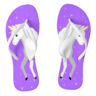 Beautiful Unicorn with Purple Starry Sky Flip Flops