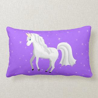 Beautiful Unicorn with Purple Starry Sky Lumbar Pillow