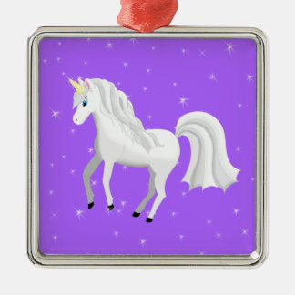 Beautiful Unicorn with Purple Starry Sky Metal Ornament