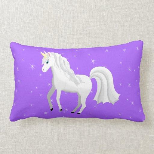 Beautiful Unicorn with Purple Starry Sky Pillow