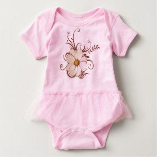 beautiful vector flowers with swirl art baby bodysuit