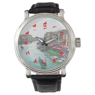 Beautiful Venice Italy with Chinese Red Numerals Wristwatch