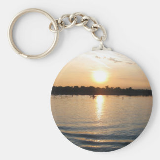 Beautiful Venice lagoon seacape at sunset Basic Round Button Keychain