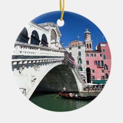 Beautiful Venice, Rialto Bridge Double-Sided Ceramic Round Christmas Ornament