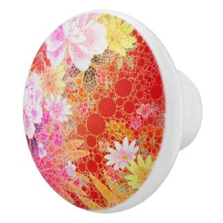 Beautiful Vibrant Abstract Flowers Ceramic Knob
