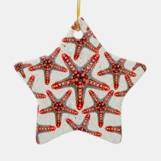 Beautiful Vibrant Red Starfish Sand Ocean Sealife Ceramic Ornament