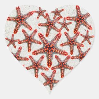 Beautiful Vibrant Red Starfish Sand Ocean Sealife Heart Sticker