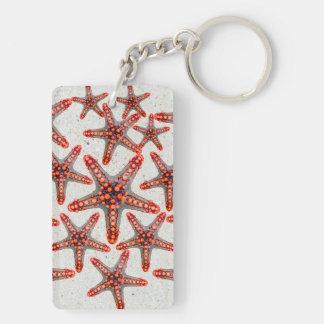 Beautiful Vibrant Red Starfish Sand Ocean Sealife Double-Sided Rectangular Acrylic Keychain