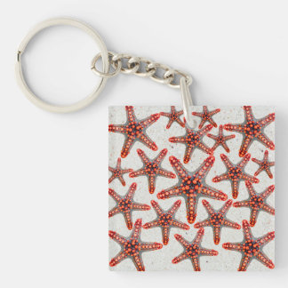 Beautiful Vibrant Red Starfish Sand Ocean Sealife Double-Sided Square Acrylic Keychain