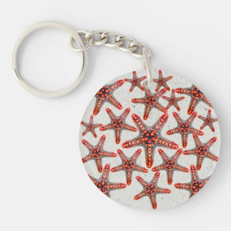 Beautiful Vibrant Red Starfish Sand Ocean Sealife Double-Sided Round Acrylic Keychain