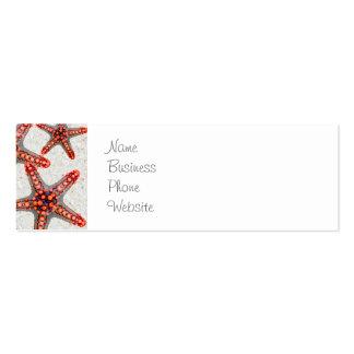 Beautiful Vibrant Red Starfish Sand Ocean Sealife Mini Business Card