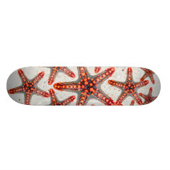 Beautiful Vibrant Red Starfish Sand Ocean Sealife Skate Deck