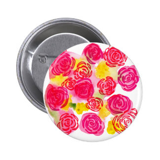 Beautiful vibrant watercolor red and pink roses pinback button